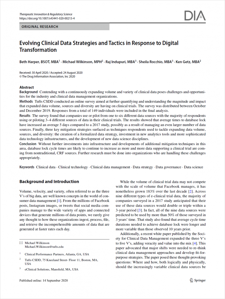 Evolving Clinical Data Strategies and Tactics in Response to Digital Transformation